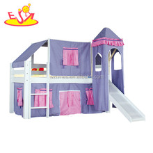 Wholesale unique customized wooden childrens bunk beds with slide W08B007