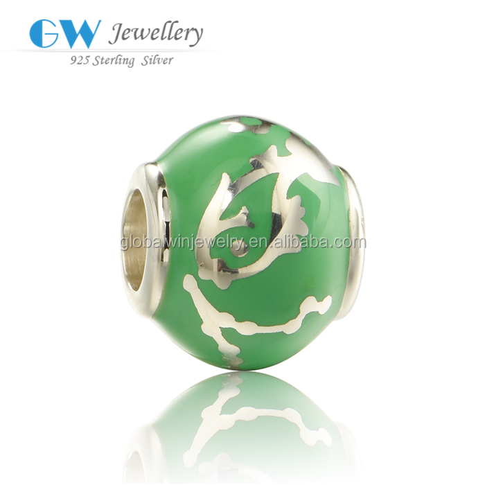 Fashion 925 Sterling Silver Green Enamel Pisces Charms Bead Landing Wholesale