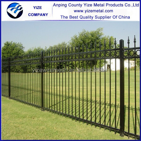 Top selling vinyl 2.1m*2.4m Decorative Ornamental Steel wrought iron fence with spear top