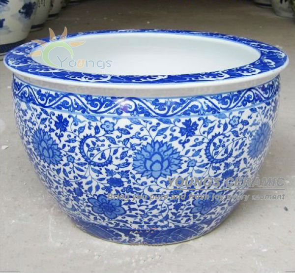 Large chinease blue and white ceramic decorative planters pot for indoor and outdoor