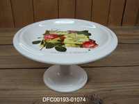 new decal design with love rose ceramic fruit plate with base