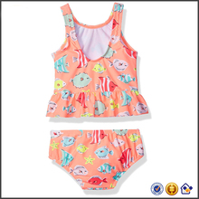 KY wholesale Non-padded cups 2 pieces set flower print crew neck girl kids swimsuit