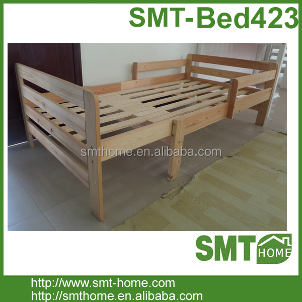 solid pine wood junior Toddler/children/ Bed With Slats and guard rail