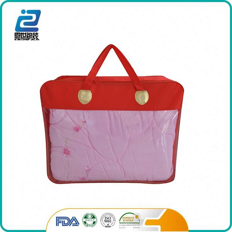 Kids likely pvc zipper plastic quilt cover bag with handles