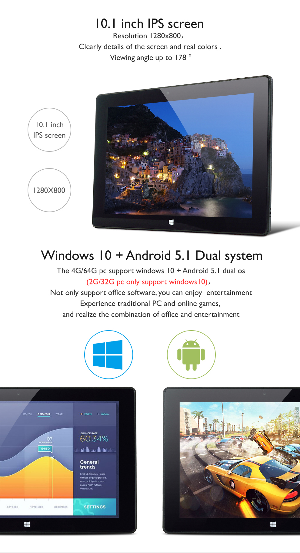 10.1 inch windows tablet pc with 2gb/4gb ram 32gb/64gb storage