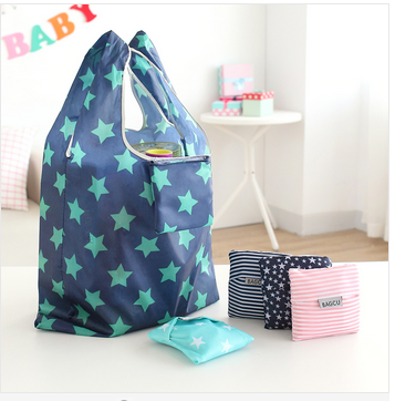 Wholesale POLYSTER Fashion Fiber Portable Tote Reusable Folding Shopping BAG Travel Grocery Bag