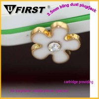 2015 Fashion Green Flower Shape Gold Tone Alloy Charm 3.5mm Mobile Phone Dust Proof Stopper
