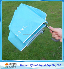 Logo print advertising 3 folding blue give away three folds pongee fabric umbrella