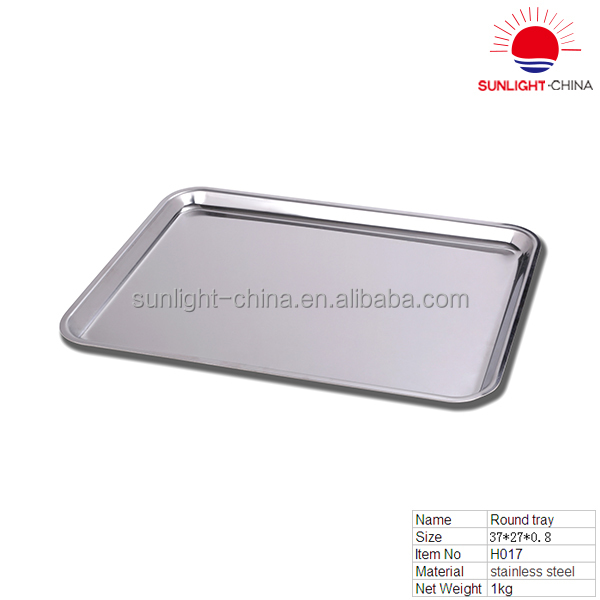 shiny stainless steel square tray/stainless steel serving tray/metal dinner tray