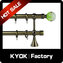 2015 antique brass double curtain pole 28mm, clear glass curtain rod finials, round base aluminum curtain bracket