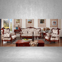 High Grade Sectional Living Room Set Red Brown Wood Carving Frame 3+2+1 Luxury Furniture Guangzhou