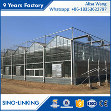 SINOLINK long life hydroponic systems with shading system glass greenhouse for strawberry greenhouse farming