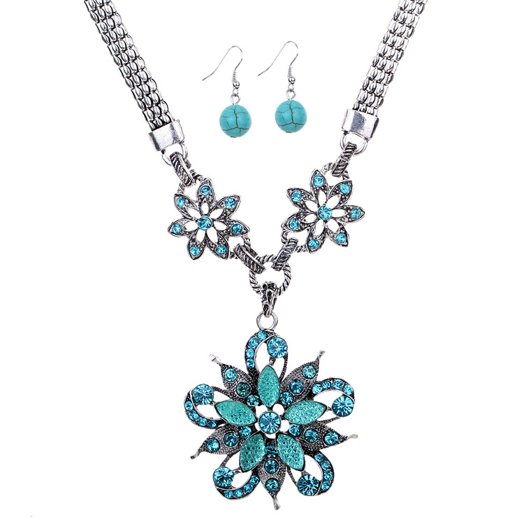 Hot sale 2016 blue crystal necklace and earring <strong>set</strong> for women