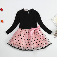 unikids 2016 New Autumn Winter Dresses For Girls Polka Dot&Striped Dress Princess Baby Kids Clothes Cute Children Girl Clothing