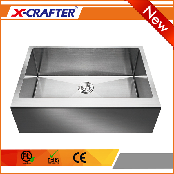 Commercial practical single bowl without faucet brushed stainless deep apron <strong>kitchen</strong> <strong>sink</strong>