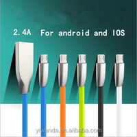 Customized design TPE flat micro usb cable with Zinc alloy head for android moble phone