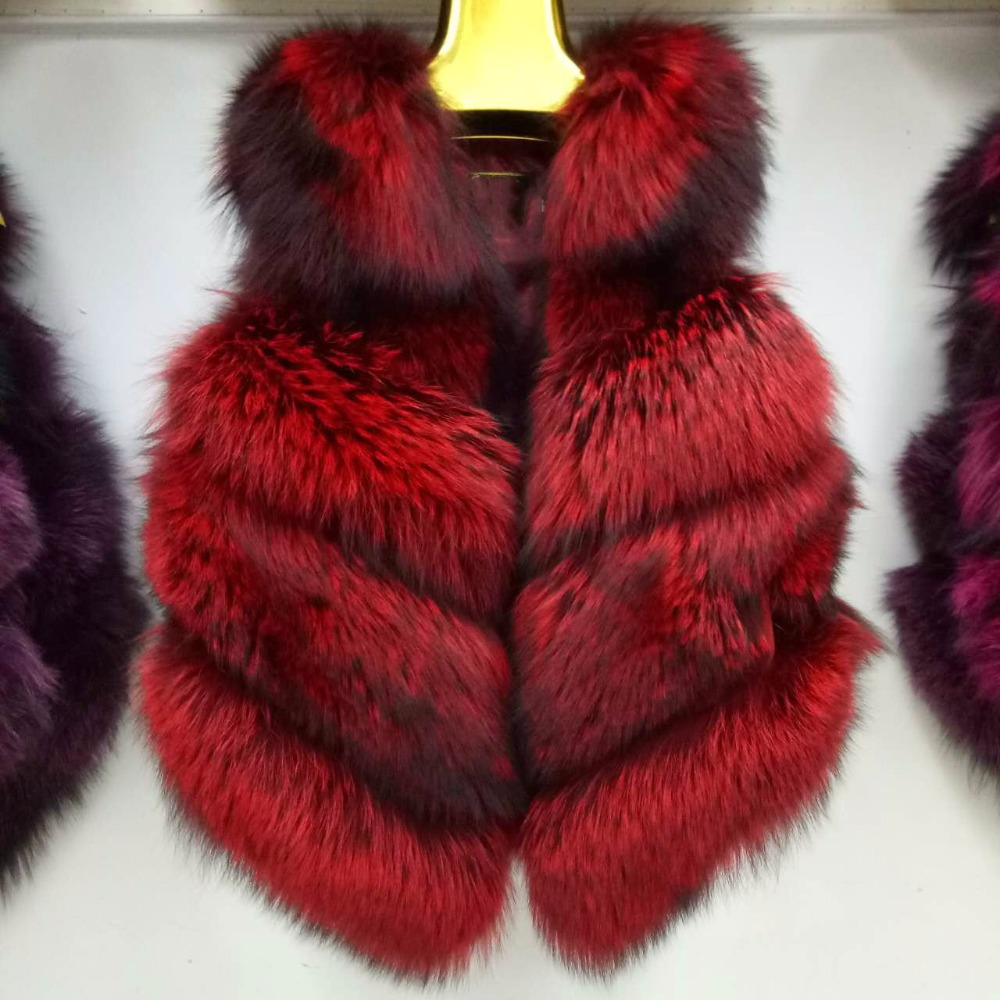 Hot sell transition color ladies genuine silver fox fur vest