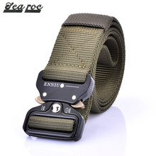 Custom color outdoor nylon tactical webbing belt fabric with alloy buckle