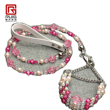 Pet dog cat fashion Three rows of pink crystal rose collar leash suit doggy collars lead set puppy products pet accessories