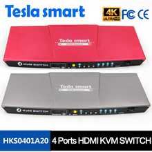 Auto Switch 4 Port HDMI KVM Switch Support Wireless Mouse Hot Key