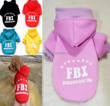 Free shipping Wonderful Pet Dog Coat Clothes FBI Printed Hoodie Sweater Costume for winter and autumn