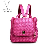 2015 newest weave bucket backpack one shoulder cross nylon bag