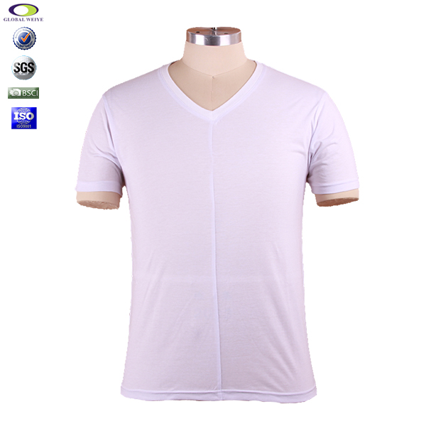 Custom made V-neck bulk blank cotton 150gsm t-shirt