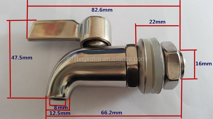 Stainless Steel Beverage Drinks Dispenser Faucet Wine Barrel Spigot/Beer Faucet M16 Thread