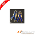 Factory custom blue enamel ribbon lapel badge metal badge