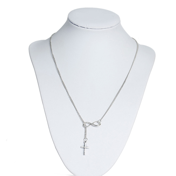 New Fashion Link Curb Chain Silver Tone Infinity Symbol With Cross Pendant Y Shaped Lariat Necklace