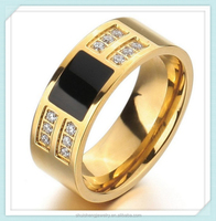 Black epoxy design crystal paved fashion hotsale stainless steel gold stone men ring