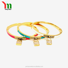 Dubai gold plated bangles designs, lock pendant bracelet bangle ,latest design 1 gram gold plated bangles