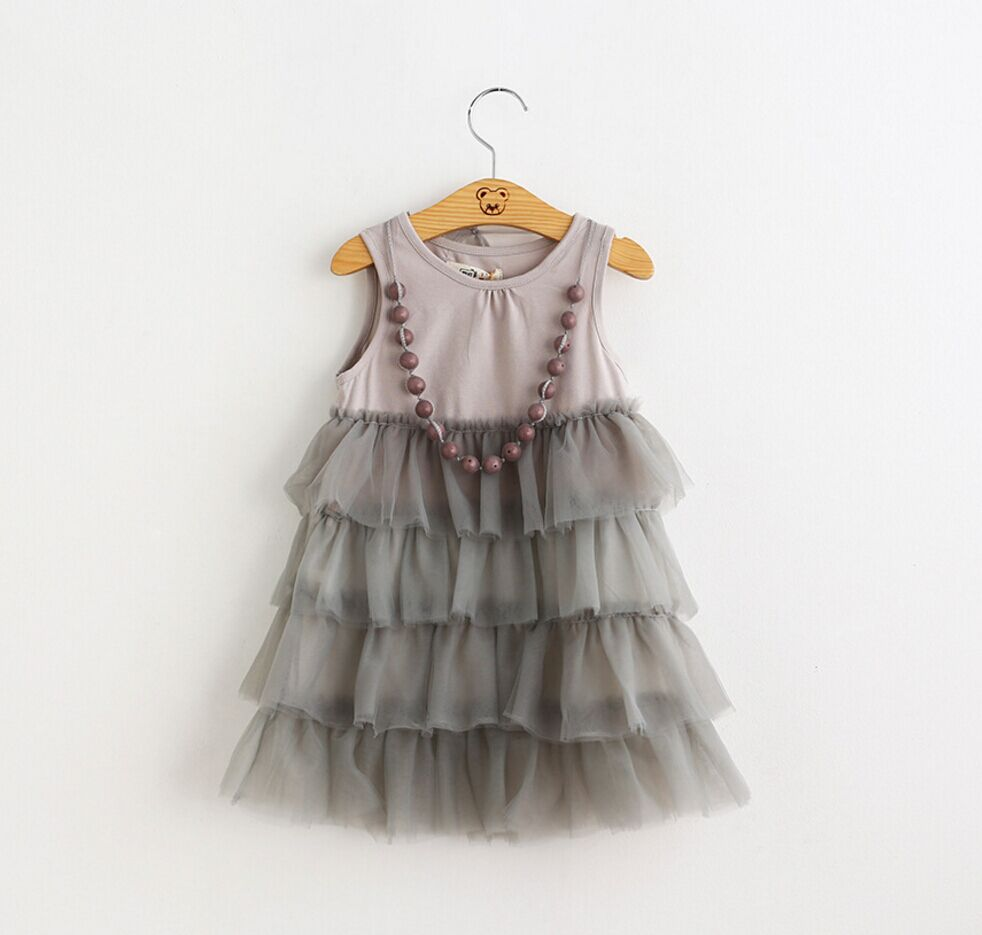 Children girl birthday party dress baby girl frill tutu dress with necklace