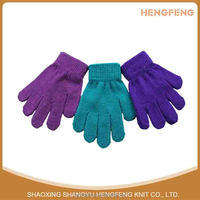 Hot saling 100% acrylic knitting plain gloves warm children gloves