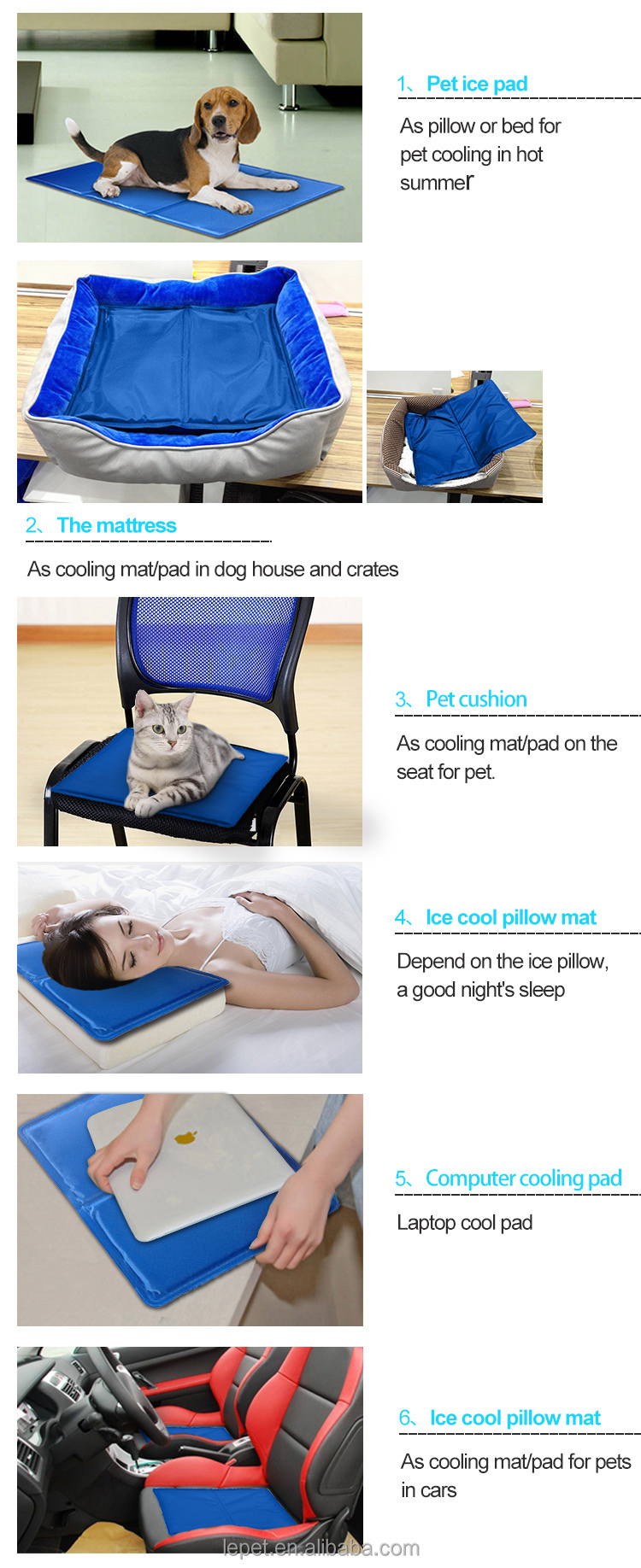 Dog Cooling Pad Bed Self-Cooling Gel Bed Cool mat for pet