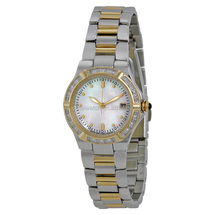 private label printed CZ setting stainless steel lady watch