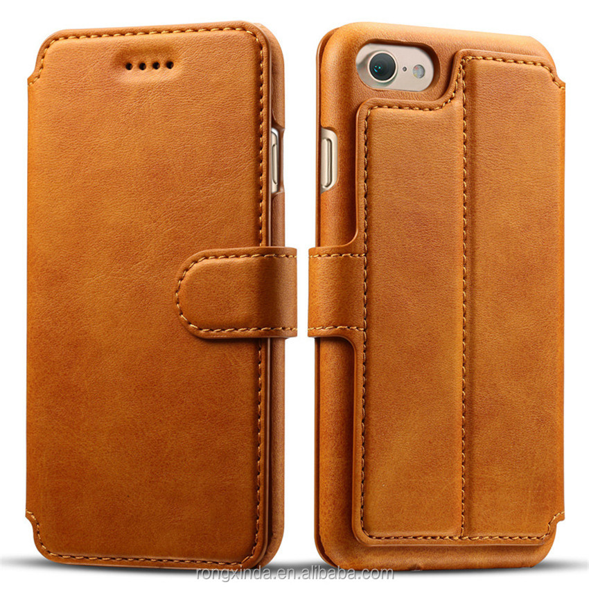 Hot for iPhone 7 customized leather genuine leather mobile phone case genuine cowhide leather flip wallet phone case for iphone