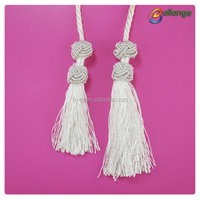 wholesale white rayon tassels fringe trim braided tassels with Chinese knot button