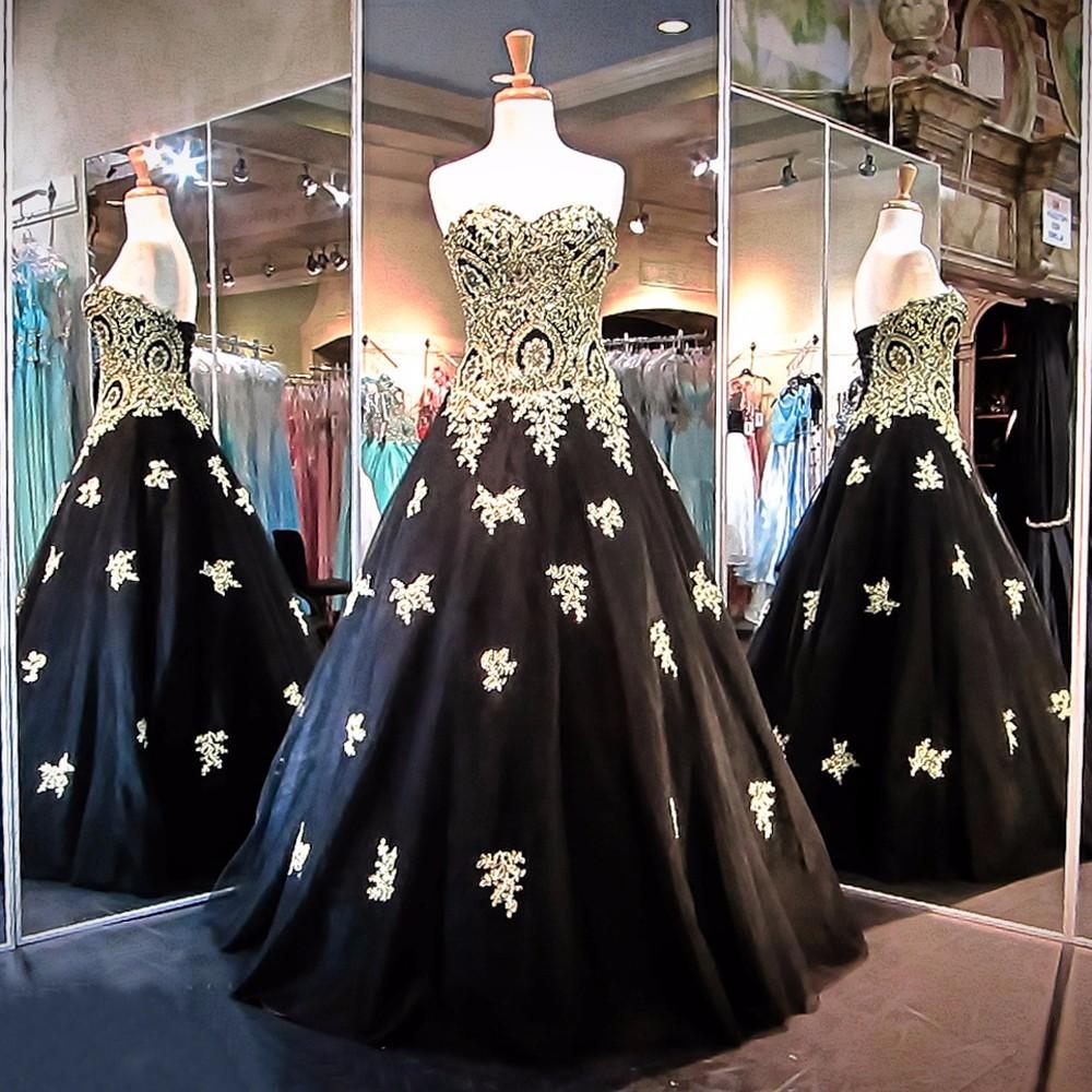 Ne139 Gothic Princess Black Wedding Gowns Turkey Gold Lace ...