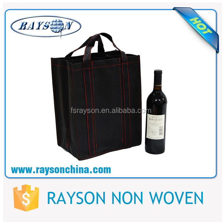 Promotional Cheap Eco-Friendly Non-Woven Tote Bag 4 Bottle for Storage