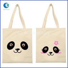 Custom 100% organic cotton canvas tote bag for lady
