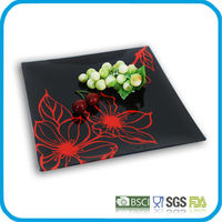 tempered square glass cake plate