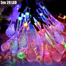 Waterproof 30 RGB LED Water Drop Solar Powered String Lights for Garden Decoration