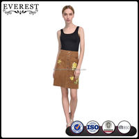 Flower Embroidery Tight Leather Skirt for Womens