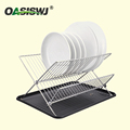 Chrome plated Folding Dish Rack With a Plastic Tray