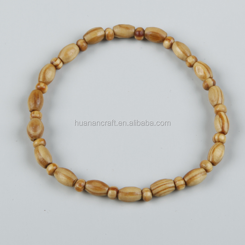 Fashion olive wood beads rosary bracelet