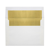 A7 Foil Lined Invitation Envelopes w/Peel & Press (5 1/4 x 7 1/4) - White w/Gold LUX Lining (50 Qty.) |60lb. Paper