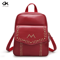 Wholesale hot sale red women gender rivet PU leather backpack