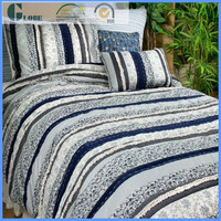 Wholesale fashion style polyester bedspread needle block printed patchwork quilt
