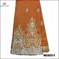 Top quality embroidered design indian style geroge lace fabric with sequins MCL9222-3